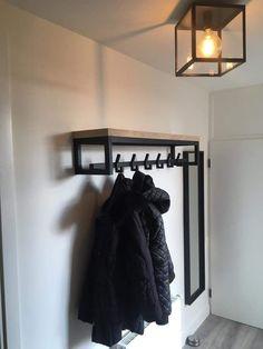 # oak # steel # coat rack – – - New Deko Sites Hallway Furniture, Iron Furniture, Steel Furniture, Industrial Furniture, Entryway Decor, Industrial Style, Furniture Projects, Furniture Design, Corridor Design