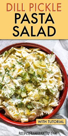 Dill Pickle Pasta Salad is classic cold pasta salad with a twist. A fantastic frugal pasta salad recipe that is SO quick and easy to make. Perfect for summer barbecues, potlucks and picnics. Click through to get this awesome recipe! Easy Potluck Recipes, Best Salad Recipes, Easy Pasta Recipes, Side Dish Recipes, Dinner Recipes, Potluck Ideas, Pasta Dishes, Food Dishes, Side Dishes