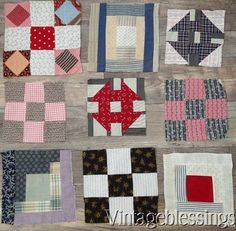 76 Fabulous ANTIQUE 19th century QUILT Blocks LOT in 6 Sets (ng)