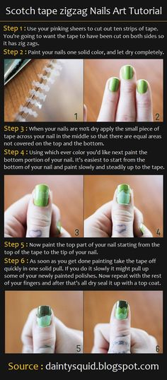 Scotch tape zigzag Nails Art Tutorial | Pinterest Tutorials