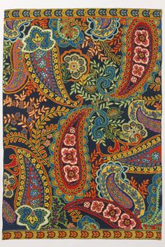 Crewel Chain-stitched Rug Paisley Reef Multi Cotton Duck - traditional - rugs - Crewel Fabric World Motif Paisley, Paisley Design, Paisley Pattern, Paisley Print, Textile Patterns, Textiles, Print Patterns, Indian Patterns, Textile Design