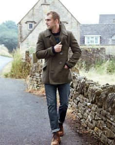 Few things more dashing than a man in a peacoat