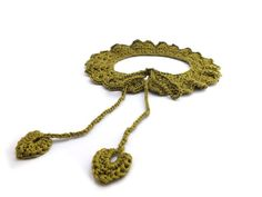 Spring Peter Pan collar crochet in silk beautiful leaf by AMIknit, $20.00