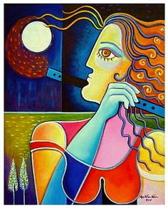 """THE FLAUTIST UNDER THE MOONLIGHT 16 X 20"""" X 3/4"""".30 Oil and Acrylic on stretched canvas by Marlina Vera"""