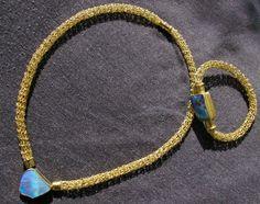 Necklace and Barcelet crocheted with Boulderopal Gold 750 - Germany - Maisach - Werner Reinisch Goldschmiedekunst & Design www.werner-reinisch.de