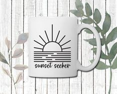 Sunset Seeker Coffee Mug | Perfect gift for Adventure Lover | Camping mug Porcelain Mugs, Cream And Sugar, Daughter Love, Fresh Fruit, Brewing, Coffee Mugs, Adventure, Sunset, Prints