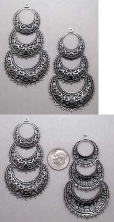 Other Jewelry Design Findings 164356: X2179 Antiqued Ss/P Filigree Triple Crescent W/Hang Ring - 12 Pc Lot (Qty Disc) -> BUY IT NOW ONLY: $31.0 on eBay!