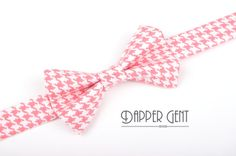 Pink Houndstooth Bow Tie for Baby Toddler Child Boys for ring bearerer and groomsmen This shop also makes matching suspenders!