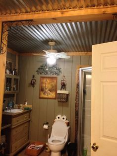 Small Bathroom Ceiling Ideas - Small Bathroom Ceiling Ideas, Like the Roof Barn Tin Bathroom Ceiling Homysweety Primitive Bathrooms, Rustic Bathrooms, Modern Bathroom, Western Bathrooms, Vintage Bathrooms, Small Bathrooms, Basement Renovations, Home Remodeling, Basement Ideas
