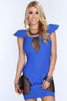 Royal Blue Cutout Mesh Backless Sexy Club Dress