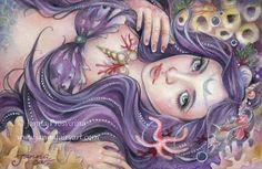 """La Perla Negra"" a sister painting to ""La Perla"" mermaid - Janna Prosvirina Fantasy Art"