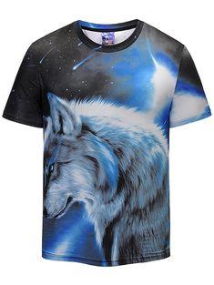 ac179eace044 Wolf Print Galaxy Crew Neck T-shirt - COLORMIX L Cheap T Shirts