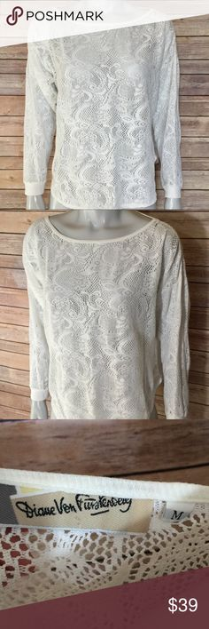 {diane von furstenberg} white lace blouse Long sleeve lace top with boatneck. Vintage shirt is pretty for layering with a crop top or cami. Diane Von Furstenberg Tops Blouses