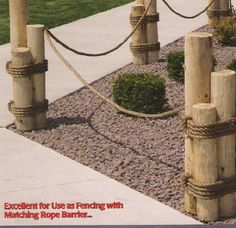 rope outdoor railing | Nautical Rope Railings mkmcedarcreations.com (similiar to what I like ...
