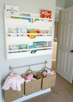 17 a railing to hang baskets and pockets to store toys and books - DigsDigs