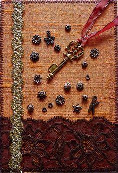 Fabric postcard by Karen Cattoire, via Flickr