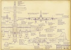 Boeing B-17G Flying Fortress Heavy Bomber Drawing