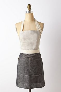 Anthropologie Monterey Apron, $88 Embroider in RED  For men other similar look for women Task apron for severs or other workers in the Pie Barn   http://www.anthropologie.com/anthro/product/30391379.jsp?cm_vc=SEARCH_RESULTS