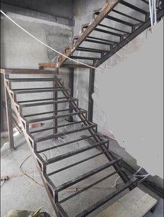 Tangga 1 Garage Stairs, House Stairs, Shiplap Ceiling, Building Stairs, Steel Stairs, Stair Detail, Stair Handrail, Floating Staircase, Modern Stairs