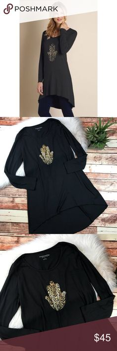 Soft surroundings namaste black tunic Size medium. In excellent condition with no flaws! Can also be worn as a dress! Length-32,38 front & back, bust-20 pit to pit ***NO modeling or trades! ::073 Soft Surroundings Tops Tunics