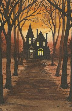 Print of haunted halloween painting x ryta house vintage style art Spooky House, Halloween Haunted Houses, Halloween House, Holidays Halloween, Happy Halloween, Halloween Crafts, Halloween Alley, Halloween Kunst, Halloween Painting