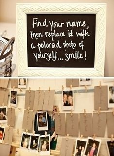 """Poloroids!  Great idea for family reunion """"sign in""""."""