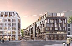 perspectives et images pour l'architecture - architectural rendering - PARIS Mix Use Building, High Building, Building Facade, Building Design, Condominium Architecture, Futuristic Architecture, Facade Architecture, Mansard Roof, Perspective