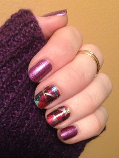 A gorgeous Jamberry Jamicure with 'Fizzy Grape' and 'Crash Art'.
