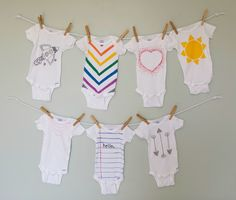 cute baby bodysuits decorated with fabric markers