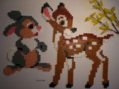 Bambi Disney  Rehkitz und Hase Bügelperlen als Wanddeko - ein Designerstück von PerlerJam