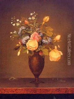Wildflowers In A Brown Vase Oil Painting - Martin Johnson Heade
