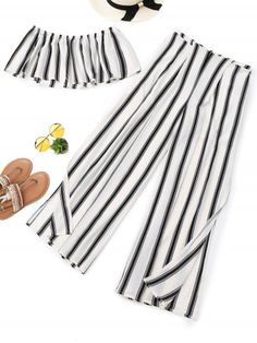 Stripes Tube Top and High Slit Wide Leg Pants 2 Piece Outfits, Two Piece Outfit, Girl Outfits, Casual Outfits, Cute Outfits, Fashion Outfits, Spring Dresses Casual, Trendy Dresses, Summer Outfits