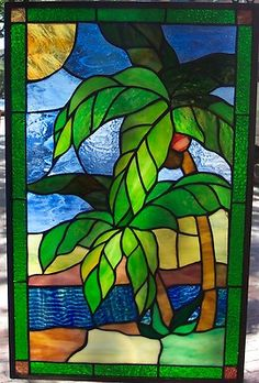 Tiffany Styled Stained Glass Window Panel 13''x 22'' [9120-42]