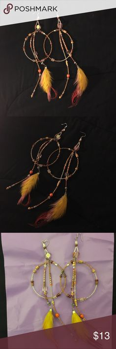 Handmade Earrings Handmade feather & bead earrings. Jewelry Earrings