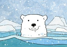 A Polar Bear swimming in an icy teal colored Arctic sea. Whimsical choppy waves, floating ice chunks, and falling snow complete this little scene which will spark the imagination of little kids and ad