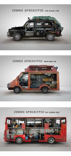 """""""Zombie survival vehicles design (via Donal O'Keeffe)"""".I fucking hate zombies. And I just had a terrible dream about zombie apocalypse. Think the van would suit me and Neko. Zombie Survival Vehicle, Zombie Apocalypse Survival, Zombie Apocolypse, Bug Out Vehicle, Survival Prepping, Survival Skills, Zombies Survival, Survival Stuff, Zombie Apocalypse House"""