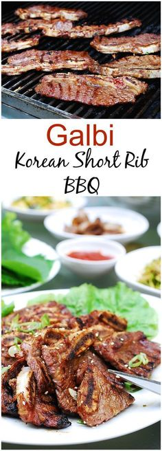Authentic Korean beef short rib Perfect for summer grilling. Pork Rib Recipes, Grilling Recipes, Meat Recipes, Asian Recipes, Indonesian Recipes, Korean Beef Short Ribs, Bbq Short Ribs, Bulgogi, Korean Dishes