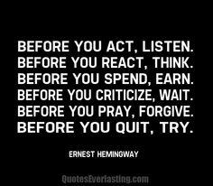 Ernest hemngway - before you
