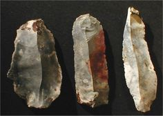 Paleolithic, Mousterian, and Neolithic stone age tools - Knives and Blades. Found off Danish island of Funen, at the site of an ancient stone age settlement called Mejloe, which is now covered by the Baltic Sea. 5,400-3,900 BC.