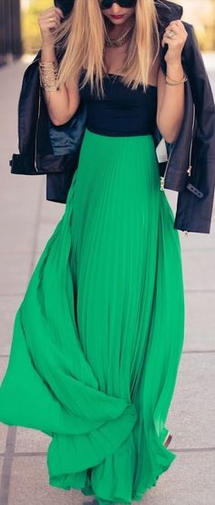 The color this fall emerald- love this outfit the dress is gorgeous and the jacket looks cool and cozy.
