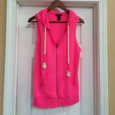 Miss Chievous L vest hoodie. Super Soft worn once Size Large. This is s pink MISS CHIEVOUS vest with a hood. This was bought at MACYS a year ago. This was warn ONE time. It is in perfect condition. Very cute. Smoke/Pet free home. I'm open to all offers on this and all of my listings! MISS CHIEVOUS Jackets & Coats
