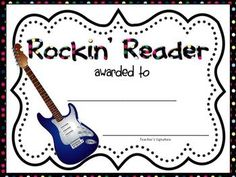 Download and print 5 FREE award certificates to give to your students: Good Citizen (2 versions), Happy Birthday, Student of the Week, and Rockin' Reader.   For more classroom friendly, teacher created materials visit my TPT store at www.lisafrase.com Follow me for a chance to win a $25 TPT gift certificate each month, plus an exclusive link to receive a product for FREE before it's uploaded to TPT as a paid product. Reading Rewards, Reading Fluency, Kindergarten Reading, School Of Rock, End Of School Year, Teacher Created Materials, Student Of The Week, Read 180, Accelerated Reader