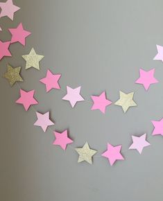 Twinkle Twinkle Little Star Garland, Baby Shower Decorations, First Birthday,Pink and Gold Decoratio Baby Girl Birthday, First Birthday Parties, 2nd Birthday, First Birthdays, Birthday Ideas, Birthday Decorations, Baby Shower Decorations, Pink And Gold Decorations, Star Garland