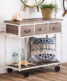 White & Natural Distressed Wooden Hall Cart