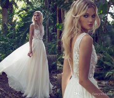 2017 Limor Rosen Wedding Dresses Gowns Deep V Neck Lace Hand Made Flowers Chiffon White Floor Length Sexy