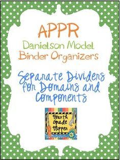 APPR Binder Organizer Dividers Based on Danielson Teacher Model