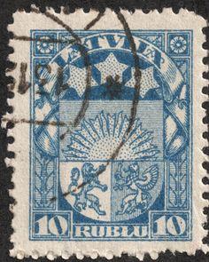 "Latvia  1921-22 Scott 108 10r blue ""Arms and Stars for Vidzeme, Kurzeme, & Latgale"""