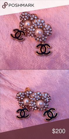 CC Chanel inspired camellia  earrings Crystal camellia with dangling CC CHANEL Jewelry Earrings