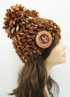 FREE SHIPPING - Chunky Fitted Crochet Beanie Hat with Pom Pom and Decorative Large Button- Brown, Tan, Gold, Cream, Purple, Violet, Lavender. $30.00, via Etsy.