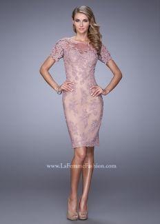 La Femme 21717 Stylish Short Sleeve Lace Cocktail Dress